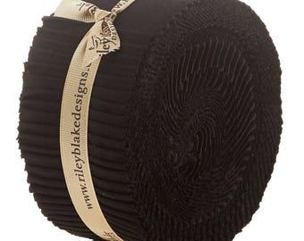 "Riley Blake, Black, Confetti Cotton Solid  40- 2.5"" strips - Rolie Polie - jelly roll"