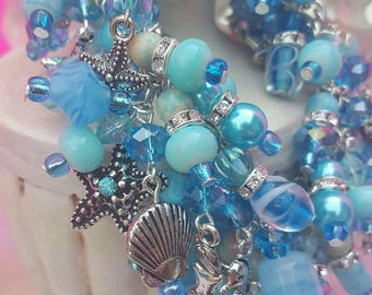 Mermaid Charm Bracelet Lake Blue Faceted Glass beads, Rhinestone spacers, Tibetan Silver Charms, Stocking Stuffer, Gift for Her