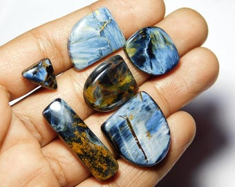 Lot ! Pietersite gemstone Cabochon Very Gorgeous looking Excellent Quality Natural handmade Gemstone Top quality 81.00cts, 6 Pieces.