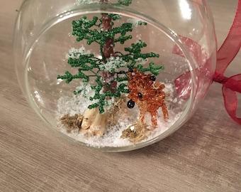 Snow covered Christmas ball