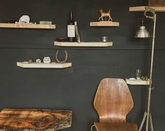 Reclaimed wood floating shelves