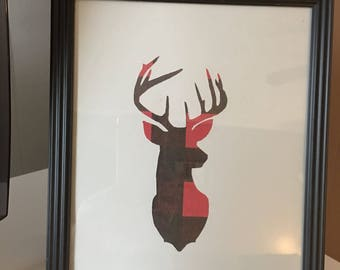 Red & plaid deer head picture