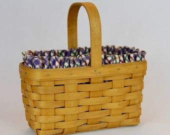 Longaberger Candle Basket with Blueberry Plaid Liner and Protector