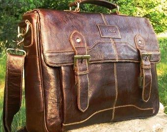 Genuine Italian Leather Briefcase Messenger Business Office Work Shoulder Bag Satchel Mens Birthday Gift Mocha Dark Brown Real Luxury Verano