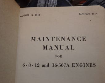 1944 Maintenance manual GM locomotives- for 6-8-12 and 16-567A engines