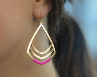 Pink and Gold Teardrop earrings