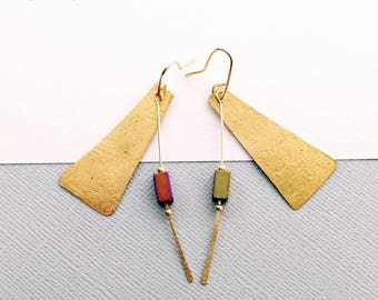 Triangular Geometric Hammered Brass earrings with Matte Lustre Hematite Beads - Modern Artisan-made Jewellery