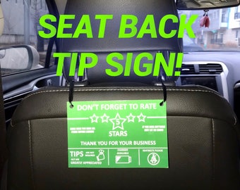 Uber Lyft Tip Sign - Back Seat Rideshare tip sign - FREE SHIPPING