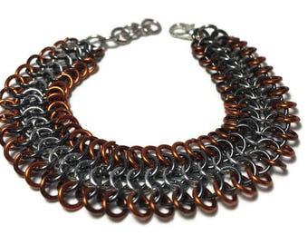 4-in-1 Copper & silver weave bracelet