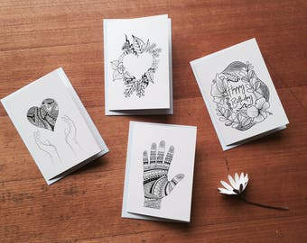 Hand-drawn Blank Greeting Cards (10pk)