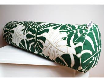 Big buckwheat hull bolster pillow, yoga bolster, roll pillow, buckwheat pillow, monstera leaves 26'' x 9''