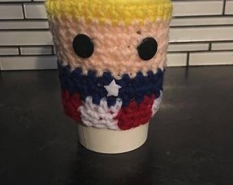 Captain America cup cozy