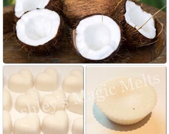 3 coconut wax melts, soy wax melts, fruit scented, highly scented melts, sample wax melts, wax melt tarts, wholesale wax melts
