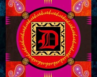 Illuminated letter D, Digital art, Digital Art, icon, print, Illustration, frame for frame, decorative frame, gift