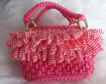 Pink hand bag and stripes