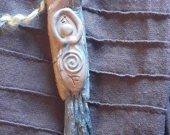 Black Kyanite Goddess Crystal Pendant