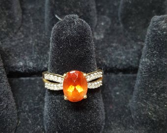 Woman's Ring Red-Orange Gem Stone