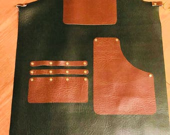 Faux leather barber apron
