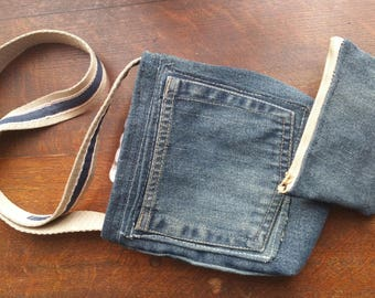 Wallet small purse/satchel with worn blue jeans