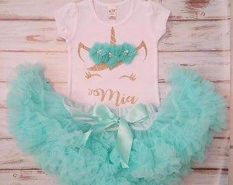 Aqua and Gold Unicorn Personalized Birthday 3d Shirt and Pettiskirt Birthday Outfit