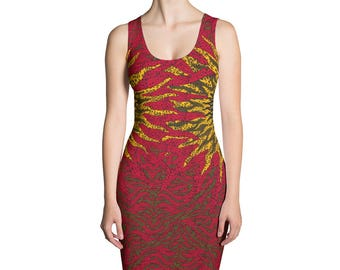 Ankara Red Gold Fitted Dress African