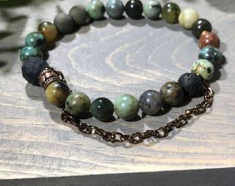 Charm Bracelet/handmade jewelry/Bronze chain/bronze charm/agate beads/Green beads/