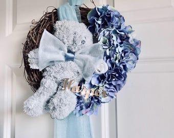 Baby Boy Door Decor, Nursery Decoration, Baby Door Decor, Baby Door Wreath Design. Blue Door Decor