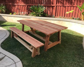 Custom Redwood Picnic Tables for sale!
