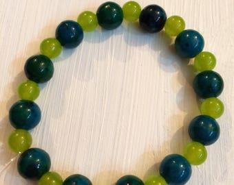 Chrysocolla and Jade Beaded Bracelet