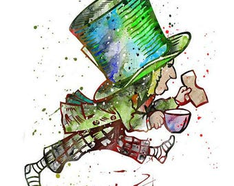 Happy Unbirthday Greeting Card - Running Mad Hatter - 5x7 premium white card - sealed in cellophane