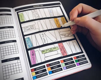 DIGITAL DOWNLOAD | Yearly Reading Log for Passion Planner, Bullet Journal Planner Stickers, Tracker Stickers
