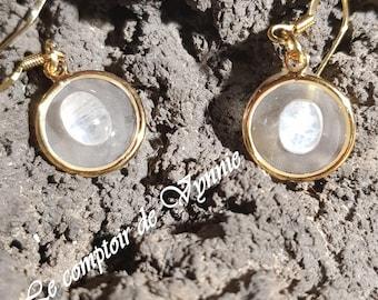 Labradorite white earring
