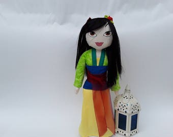 Mulan ooak Doll Fabric Mulan Handmade Doll Mulan Fabric Doll  Mulan character Collectible  Dolls Personalized Dolls Mulan's character