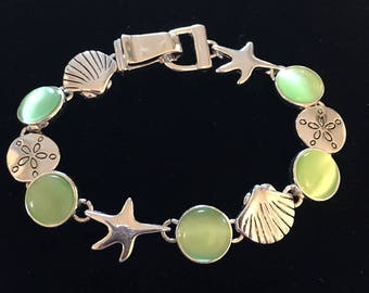 Sterling Silver Sea Shells, Sand Dollar, And Star Fish With Lime Green Sea Glass