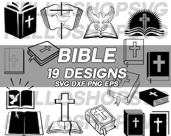 bible svg, christian svg, catholic svg, holy bible svg, bible book svg, jesus svg, religion, silhouette, eps, png, dxf, cut file, decal