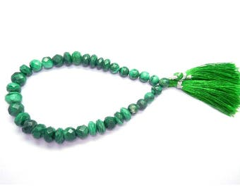 Diy Jewelry Making Gemstone Beads Supplies 38Gm/37Beads Earth Mined Malachite 7-10 Mm Faceted Round Ball Beads 8 Strand