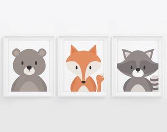 PRINTABLE Woodland Wall Art. Set of 3 Posters Baby Room Decor. Cute Animals Nursery: Bear, Fox and Raccoon Digital Prints 5x7, 8x10, 11x14