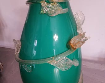 Vintage Sea Green Murano Glass Vase Surrounded by Flowering Vine