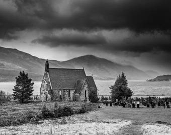 St John's Church in Ballachulish near Glencoe Scotland. landscape Print, Scottish, Episcopal, moody sky, fine art print, wall art