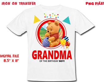 Winnie The Pooh Iron On Transfer - Grandma - Winnie The Pooh Grandma Birthday Shirt Design - Grandma DIY Shirt - Digital Files