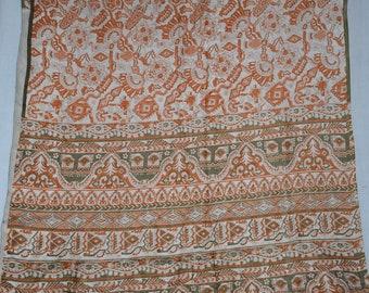 Indian Culture Vintage Saree 100% Pure Silk Abstract & Floral Design Sari Craft Dress Making Fabric