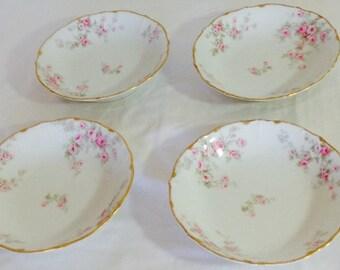 1920's Antique French Limoges Elite Work Bowls~Pink Roses