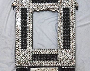 W101 Antique Style Brown Mother of Pearl Egyptian Wall Mirror Frame / Console