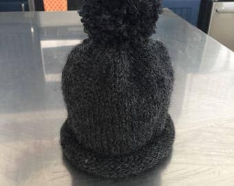 "Hand knit ""soft"" black hat for toddler"