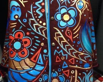 Original! Women's fur coat! Art!! Hand made! Hand painted!