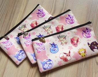 Pokemon Eeveelution Zipper Pouch - Accessory Bag - Pencil Case