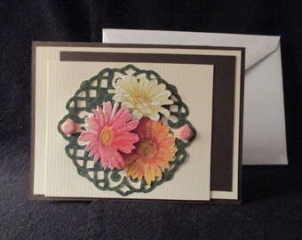 Happy Birthday Card with 3 dimentional flowers