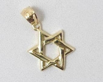 Solid 14K Yellow Gold Small Star of David Pendant Charm, 0.93 grams, Jewish