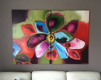 Dyptiqye painting acrylic modern flower / dyptich acrylic flower painting
