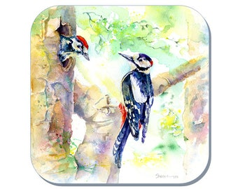 Woodpecker - Bird Coaster, Wildlife Coaster (Corked Back). From an original Sheila Gill Watercolour Painting